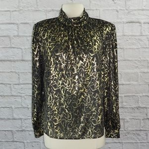 Vintage 80s Black Gold Metallic Blouse